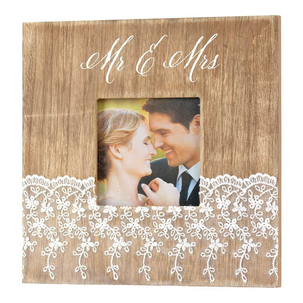 Lace Trim 8 x 8 Wood Table Top Photo Frame Sign Plaque Dicksons Mr and Mrs