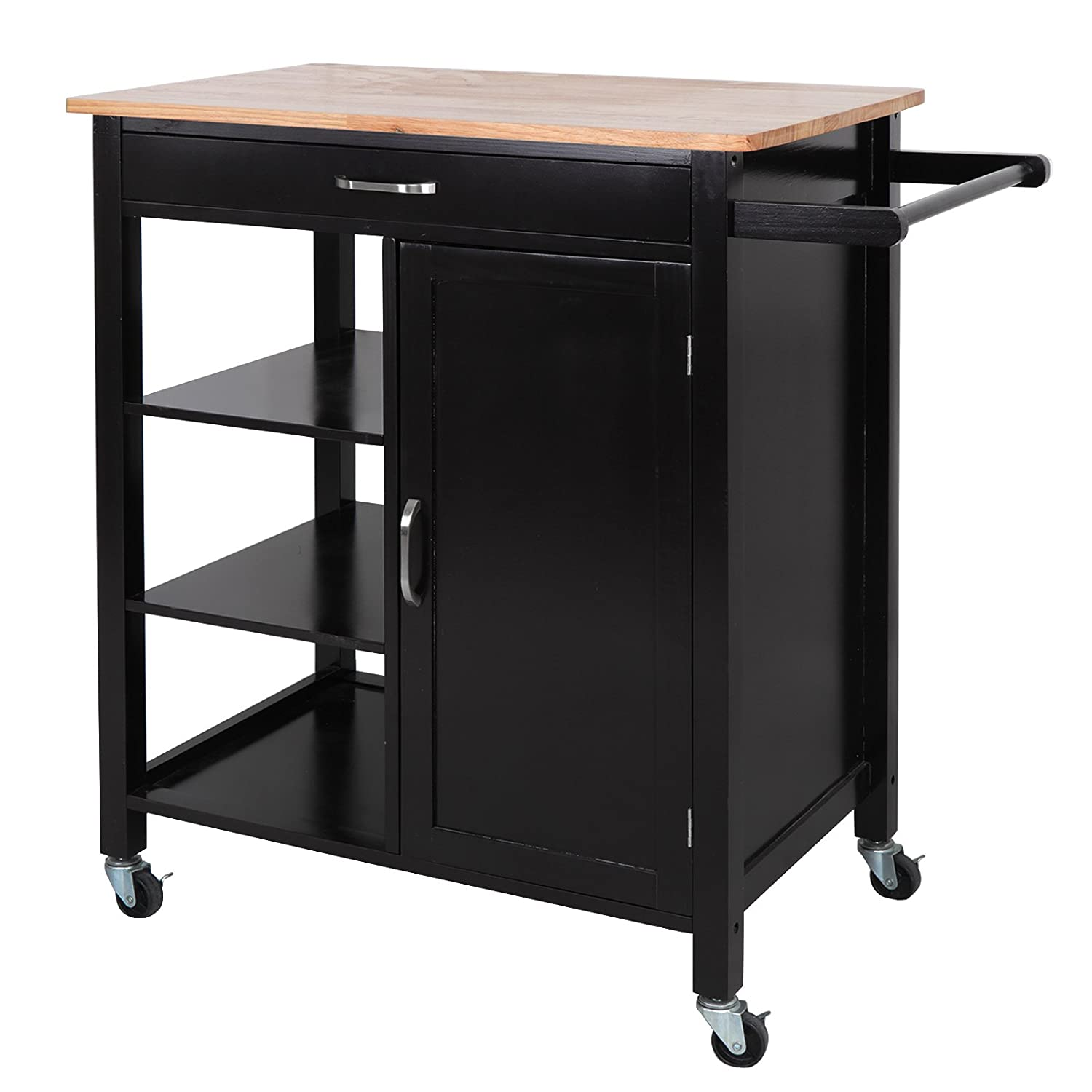 Awesome Zeny 4 Tier Rolling Kitchen Island Storage Trolley Cart Cabinet Utility W Towel Bar Drawer Rubber Wood Top Kitchen Cart Home Remodeling Inspirations Propsscottssportslandcom