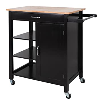 ZENY 4-Tier Rolling Kitchen Island Storage Trolley Cart Cabinet Utility,  w/Towel Bar & Drawer, Rubber Wood Top Kitchen Cart