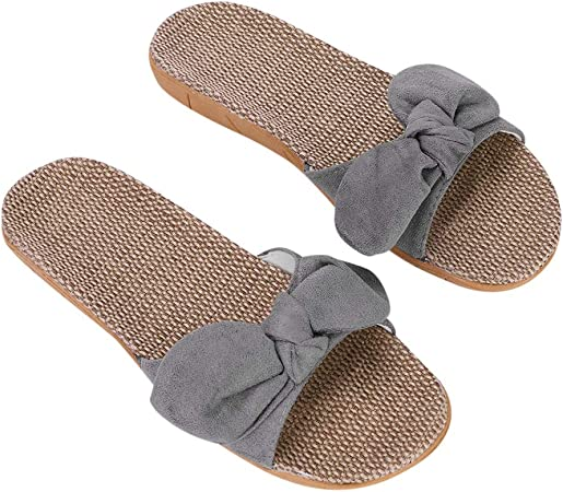 Plage Bain Mules Piscine en Lin Pieds Été Pantoufles Femmes Chaussures Sandales Antidérapantes IBLUELOVER Maison Bureau Nu Salle Chaussons de SqVpGzUM