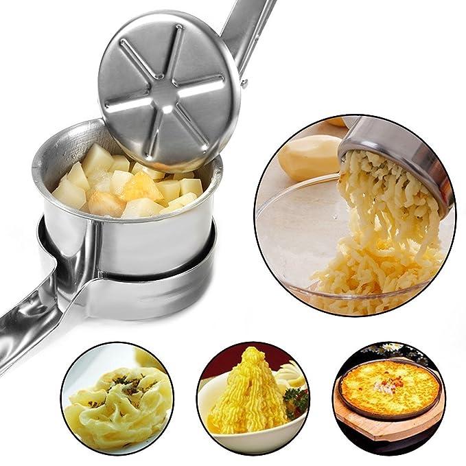 Compra FUKTSYSM Prensador de Patatas - Triturador de Patatas Prensador de Patatas y Fruta de Acero Inoxidable para alimentos cocinados Fruta Profesional con ...