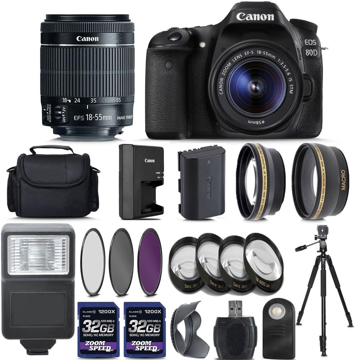 Canon EOS 80D Digital SLR Camera + 18-55mm is STM Lens + 2 X 32GB + Telephoto + Wide-Angle Lens + 4PC Macro Kit + 3PC Filter Kit + Flash + Case + Tripod - International Version