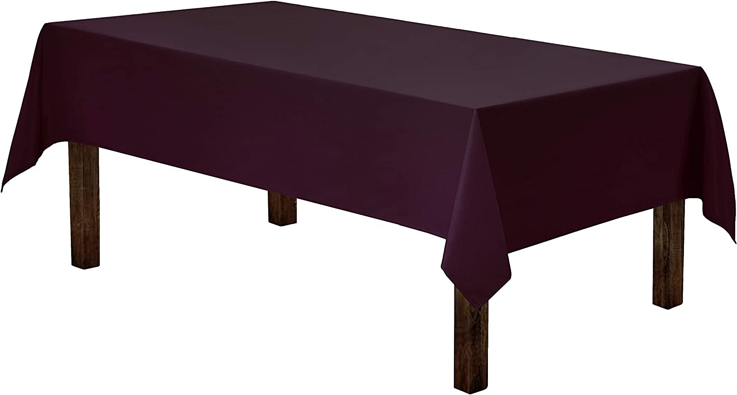 Gee Di Moda Rectangle Tablecloth - 60 x 84 Inch - Eggplant Rectangular Table Cloth in Washable Polyester - Great for Buffet Table, Parties, Holiday Dinner, Wedding & More