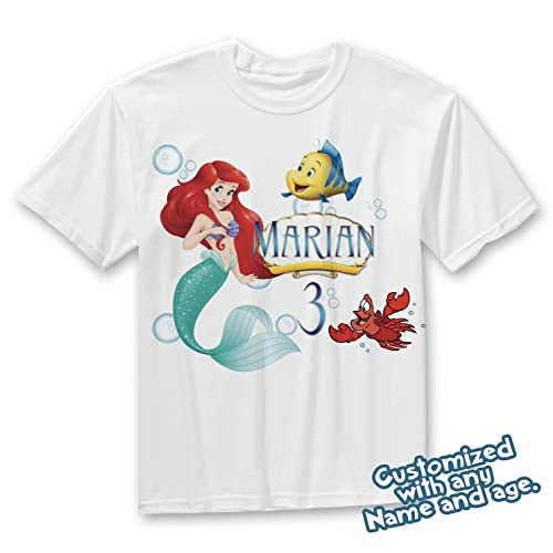 Little Mermaid Birthday Shirt Ariel Custom Name And Age PartyFamily Kid Tshirt
