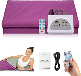 SilkFun Infrared Personal Sauna Blanket, Fast Sweating Professional Fitness Machine at Home for Weight Loss and Detoxification(with Button Battery/110V US Plug)(Purple)
