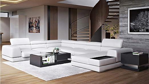 Amazon.com: Wynn Seccional sofá de piel con reposacabezas ...