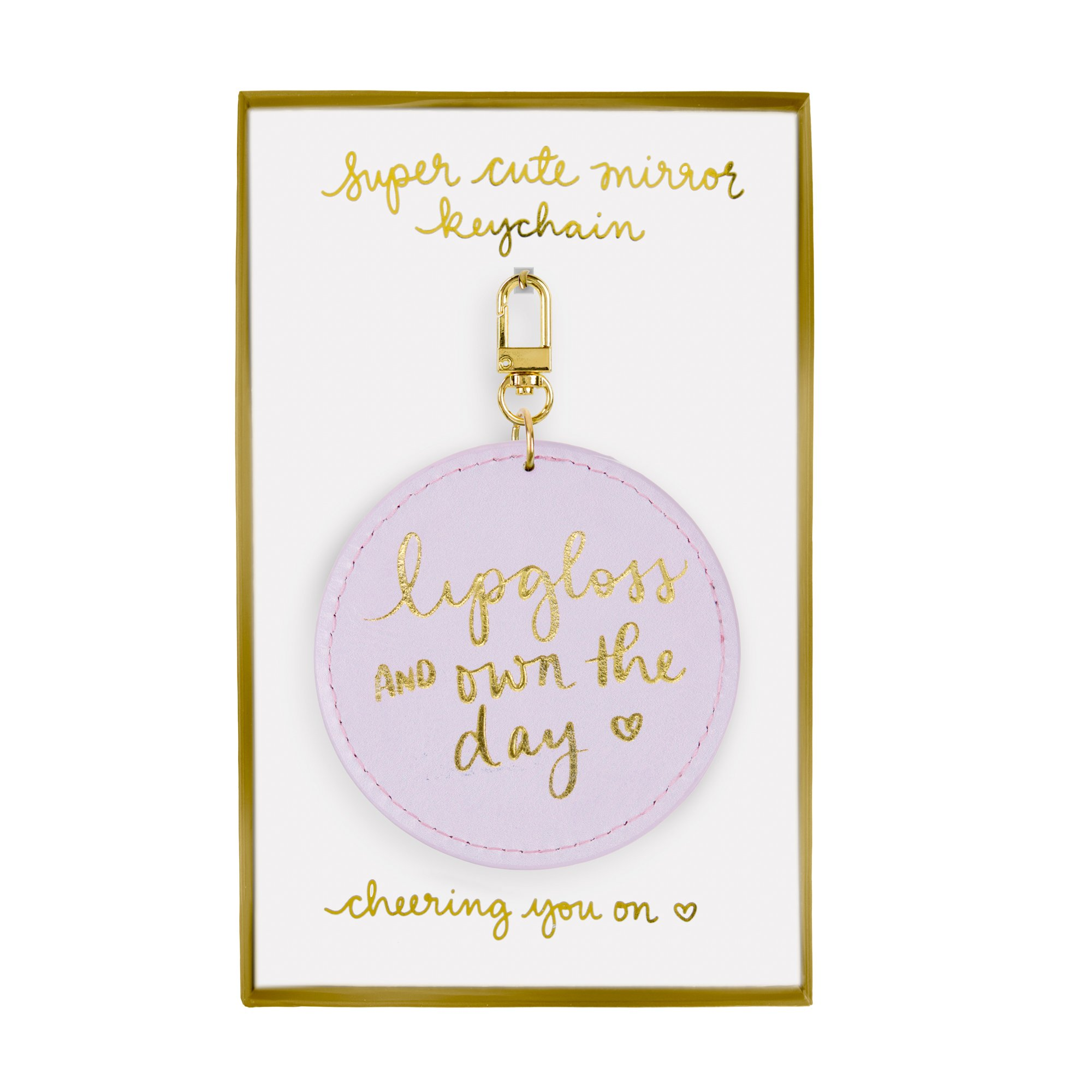 Eccolo Dayna Lee Small Round Mirror Keychain, Purple, Own the Day
