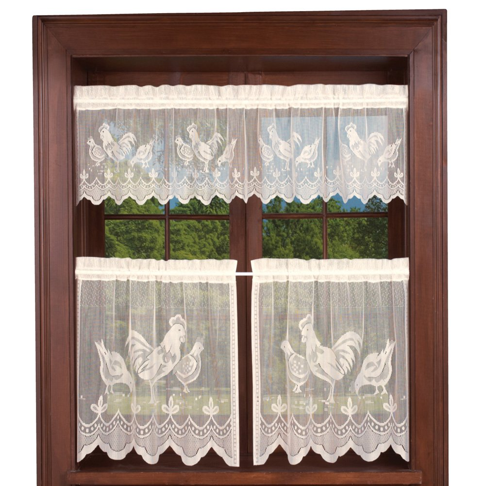 "Collections Etc Lace Rooster Cafe Curtain Set, Ivory, 24"" L Tiers"