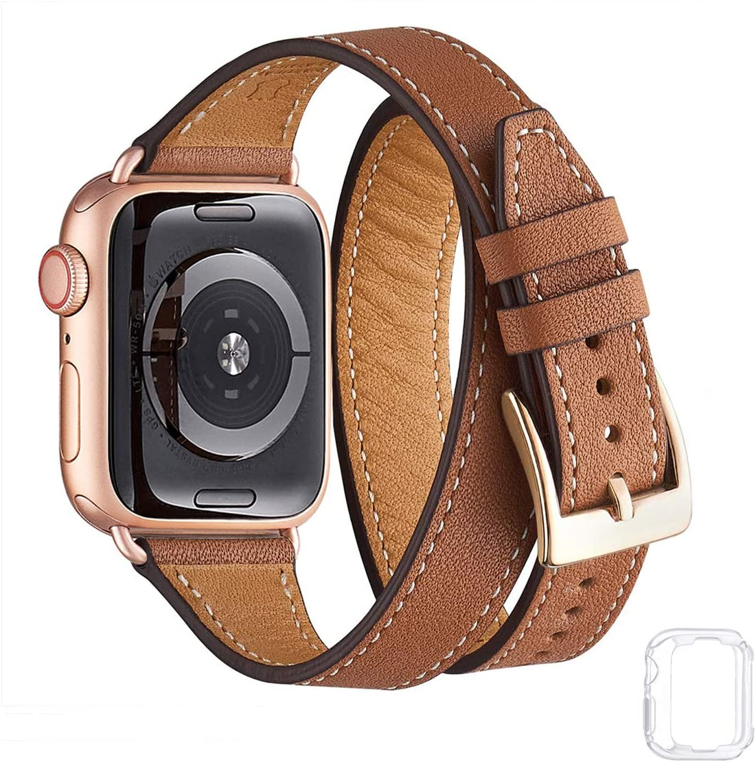 Bestig Band Compatible for Apple Watch 38mm 40mm 42mm 44mm, Genuine Leather Double Tour Designed Slim Replacement iwatch Strap for iWatch Series 6 SE 5 4 3 2 1 (Brown Band+Rosegold Adapter, 42mm 44mm)