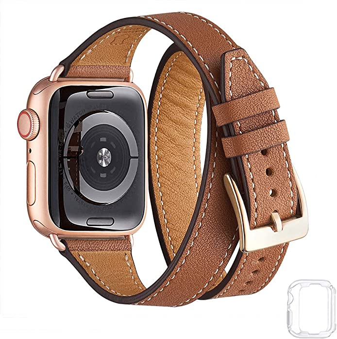 Bestig Band Compatible for Apple Watch 38mm 40mm 42mm 44mm, Genuine Leather Double Tour Designed Slim Replacement iwatch Strap for iWatch Series 5/4/3/2/1 (Brown Band+Rose Gold Adapter, 38mm 40mm)