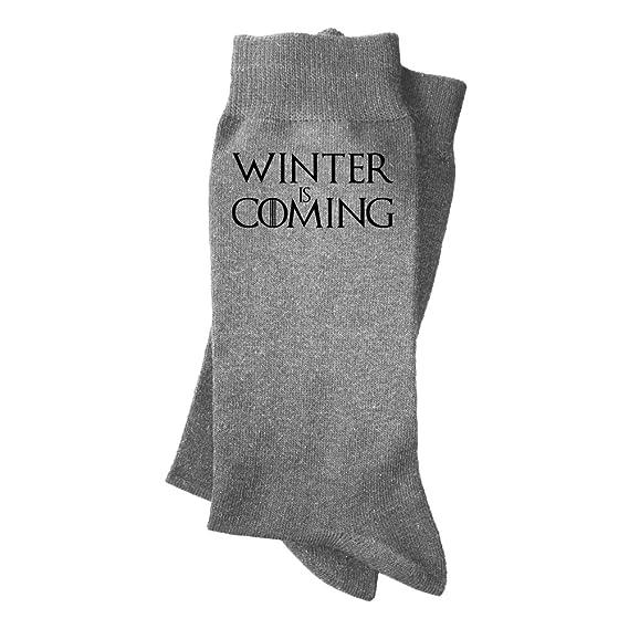 Calcetines de hombre Winter is coming. Calcetines divertidos, con mensaje. Parodia Juego de tronos.: Amazon.es: Ropa y accesorios