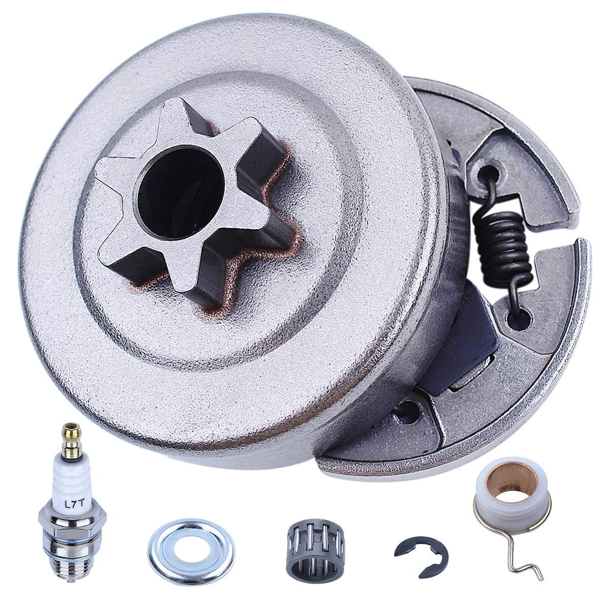 Chainsaw 7pcs Kit Sprocket Clutch 3/8'' for Stihl 017 018 021 023 025 MS170 MS180 MS210 MS230 MS250 Replacement Parts with Needle Bearing Washer E-Clip Worm Gear for 1123 640 2003, 1123 640 2073 by Adefol