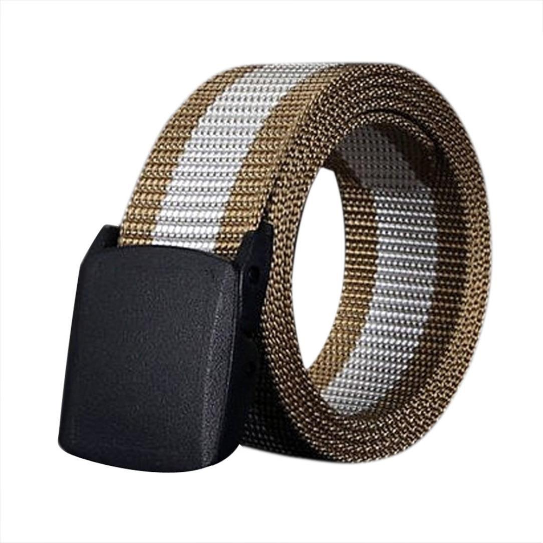 Malloom Los hombres de lona cinturon de hebilla de no-metal hipoalergénico automatico (negro): Amazon.es: Hogar