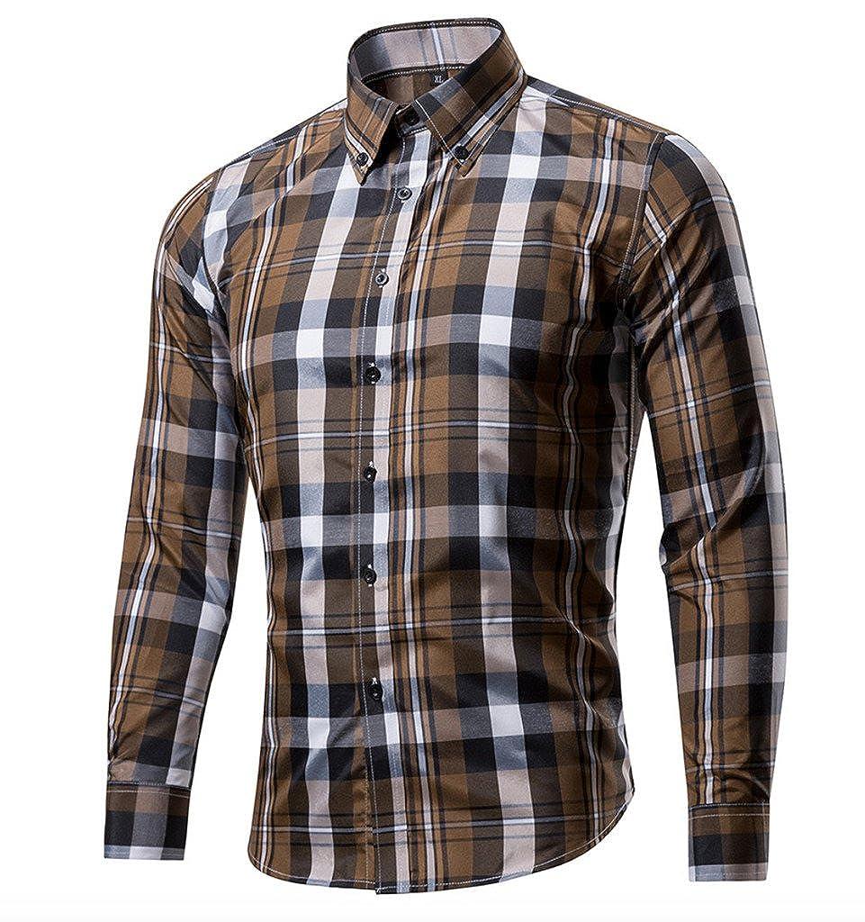 Elonglin Men's Button Down Shirt Checkered Long Sleeves Cotton Slim Fit Casual Shirt EL.CY0346