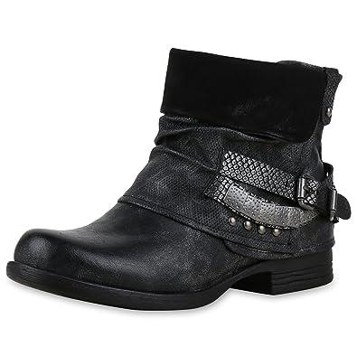 Schuhtempel24 Damen Schuhe Boots Stiefel Stiefeletten Blockabsatz SchnalleNietenZiersteine 5 cm