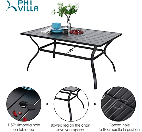 PHI VILLA 7 Piece Metal Outdoor Patio Dining Bistro Set