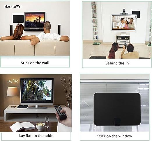Zenoplige Antena para TV Digital de TDT y HD par Interior HDTV, 50 Millas de Distancia, con Amplificador de Señal USB, 13ft Cable Coaxial, Color Negro