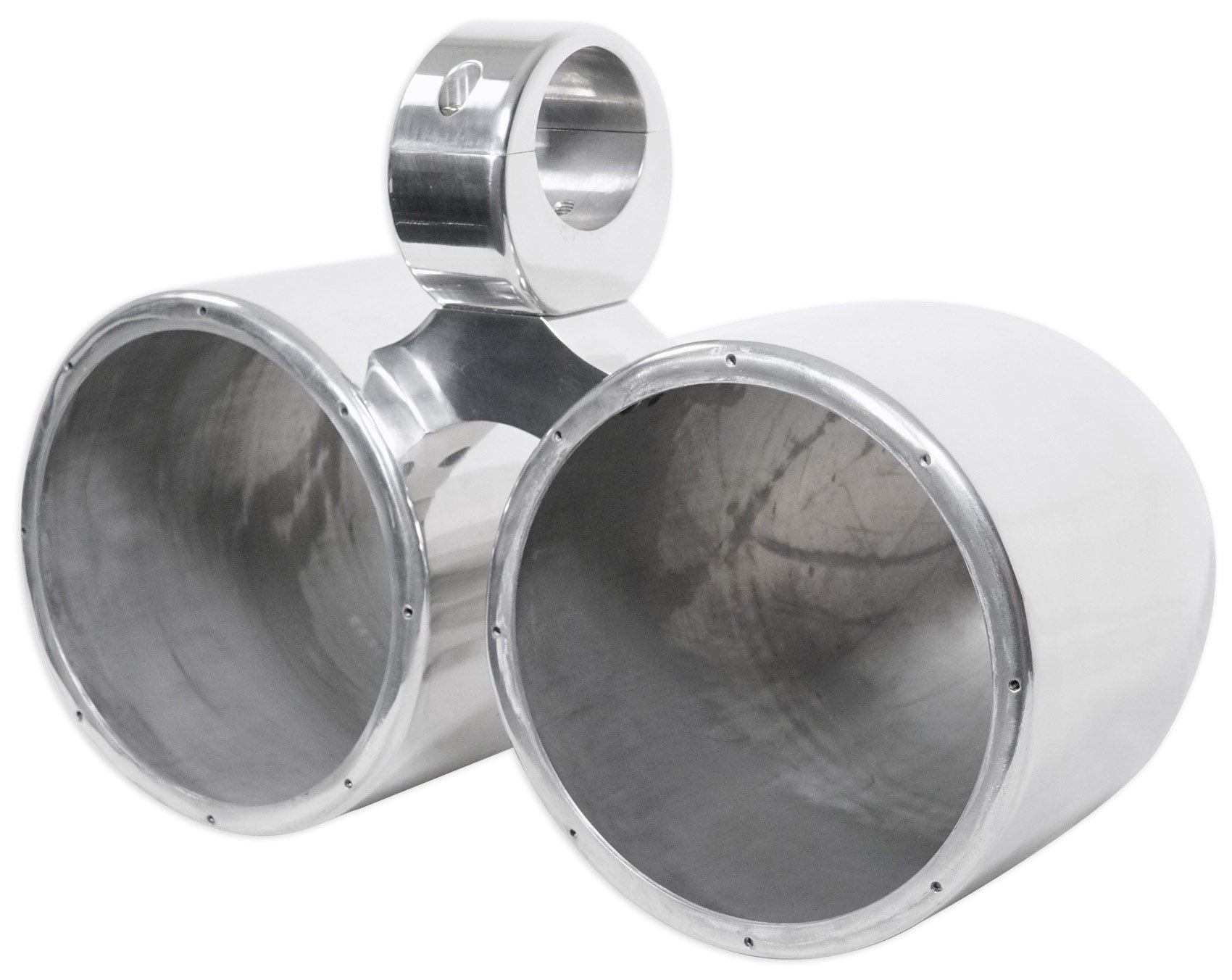 Dual Metal Wakeboard Pods 4 Kicker, Pyle, Fusion, MTX Speakers-Silver by Rockville