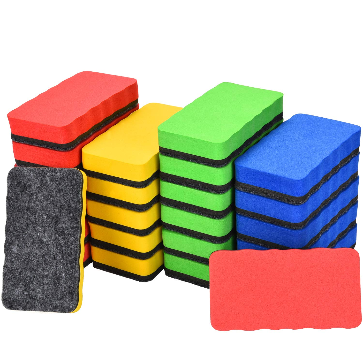 Tatuo 24 Pieces Magnetic Whiteboard Eraser Dry Erase Chalk Eraser for Classroom, Home and Office, 4.02 x 2.17 Inches, 4 Colors