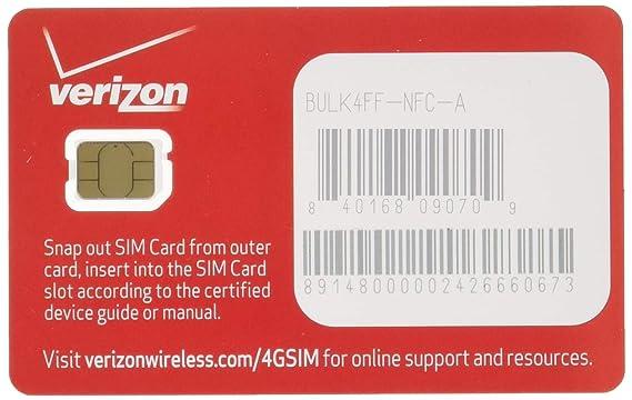 Amazon.com: Nueva tarjeta de Verizon Wireless 4 G LTE Nano ...