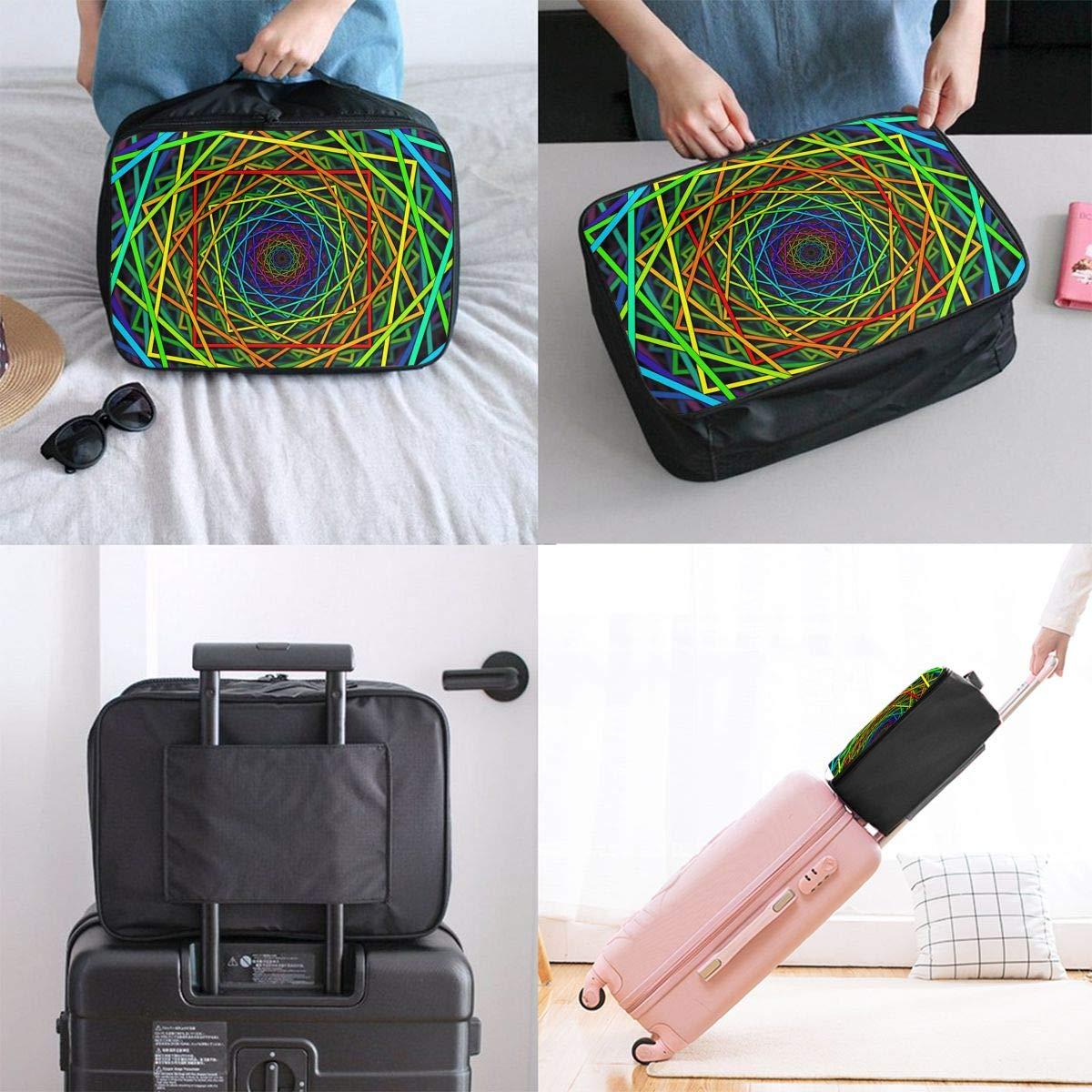 Travel Luggage Duffle Bag Lightweight Portable Handbag Abstract Colorful Kaleidoscope Pattern Large Capacity Waterproof Foldable Storage Tote