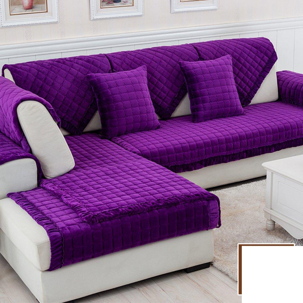 DW&HX winter Thicken Flannel plush Sofa cushions, Cover Anti-skidding Fabric Sofa cover Cushion-R 70x210cm(28x83inch)