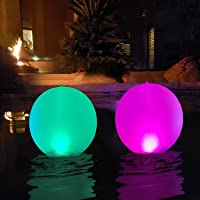 "Floating Pool Lights Inflatable Waterproof IP68 Solar Glow Globe,14"" Outdoor Pool Ball Lamp 4 Color Changing LED Night…"