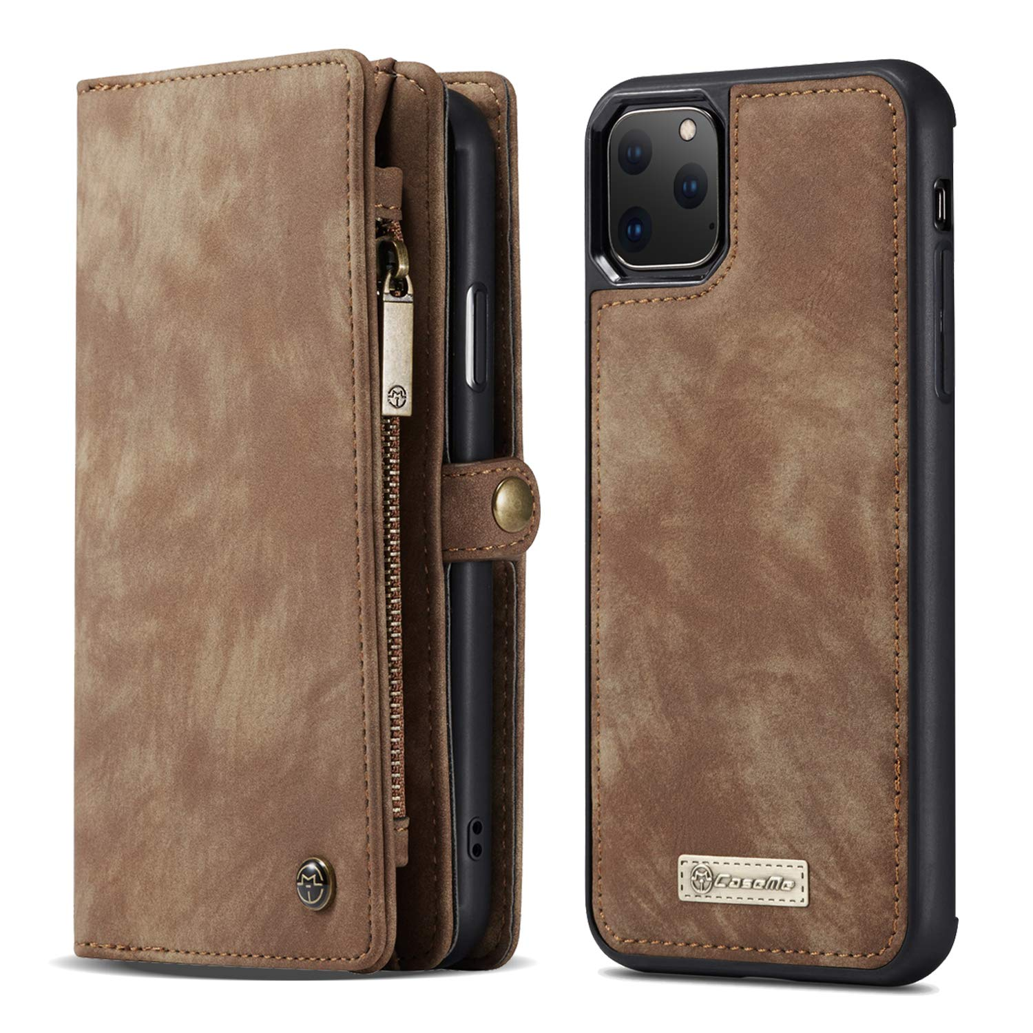 Bchance iPhone 11 Pro Max Wallet Case, Pu Leather Zipper Phone Case Detachable Magnetic Card Slots Money Pocket Clutch for Women Folio Style Purse for 6.5 Inch iPhone 11 Pro Max 2019 - Light Brown by Bchance