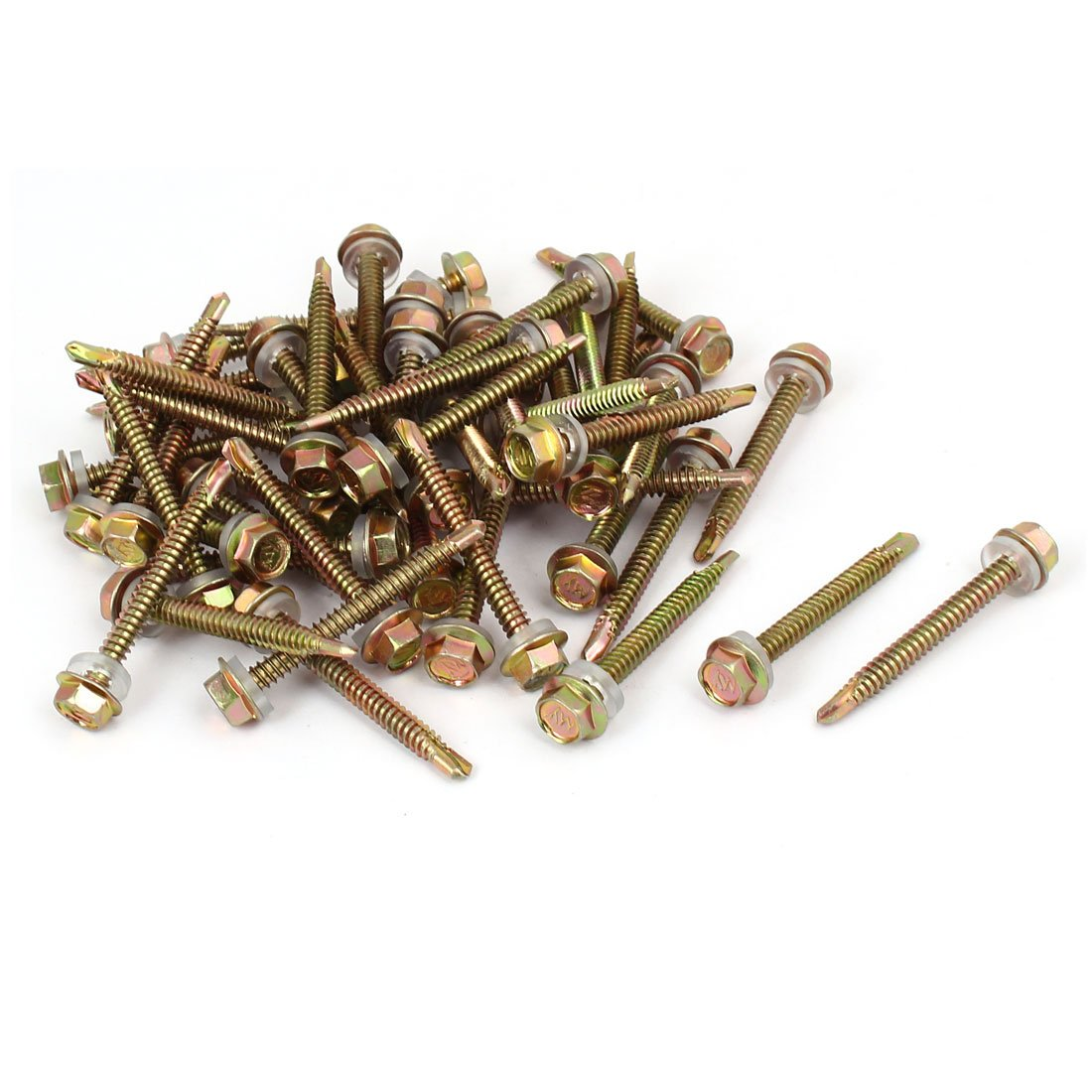 uxcell 12#x2'' Hex Washer Head Self Tapping Drilling Screw Bolt Bronze Tone 50pcs