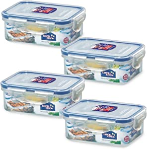 Lock & Lock Airtight Rectangular Food Storage Container 11.83-oz / 1.48-cup (Pack of 4)