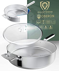"DALSTRONG 12"" Straight Frypan - The Oberon Series - 5.1 Quart - 3-Ply Aluminum Core Cookware - Silver - w/Lid & Pot Protector"