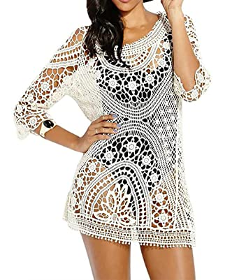 8c78ceaa18763 Bestyou® Women s Long Sleeve Lace Crochet Bikini Cover up Tunic Beach Dress  (Beige)