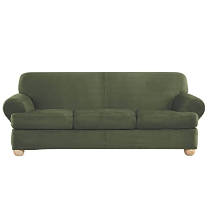 Genial Sure Fit Ultimate Heavyweight Stretch Suede Individual 3 Piece T Cushion  Sofa Slipcover   Olive
