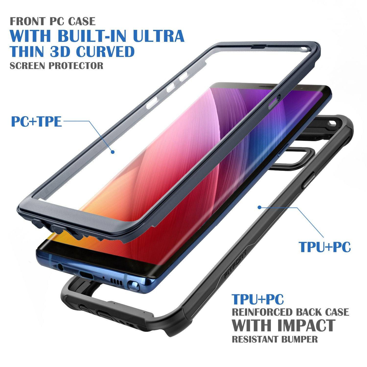 Ultra Thin Clear Cover with Built-in Anti-Scratch Screen Protector Samsung Galaxy Note 8 Cell Phone Case Full Body Protective Shock Drop Proof Impact Resist Extreme Durable Case Black//Grey