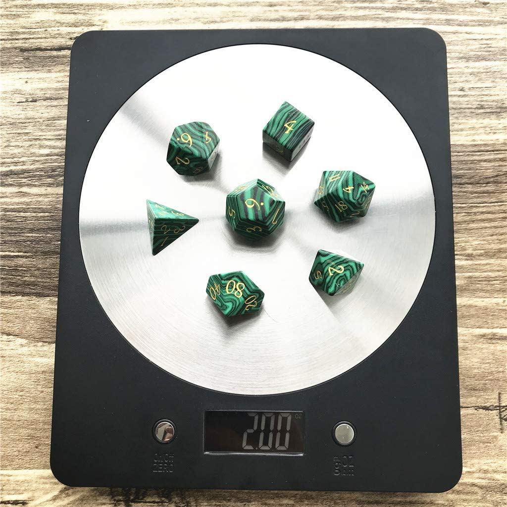 Momostar Set of 7 Stone Dice for RPG,Dungeons /& Dragons Dices Handmade by Natural Gemstones. Font A Light Blue Cats Eye Stone