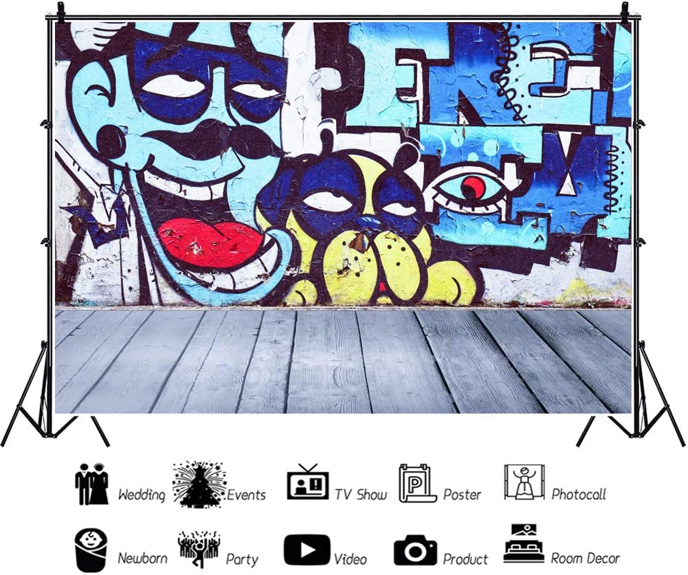 YEELE City Street Graffiti Backdrop 10x8ft Boy and Dog Heads Painting with Wood Floor Photography Background Kids Birthday Decoration Interior Kids Adults Artistic Portrait Photoshoot Props Wallpaper