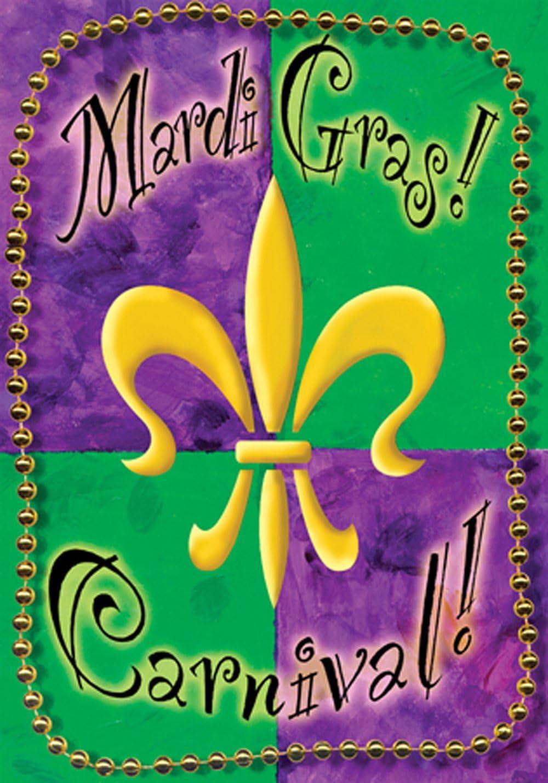Toland Home Garden Mardi Gras Beads 12.5 x 18 Inch Decorative Carnival Party Fleur De Lis Garden Flag - 111159
