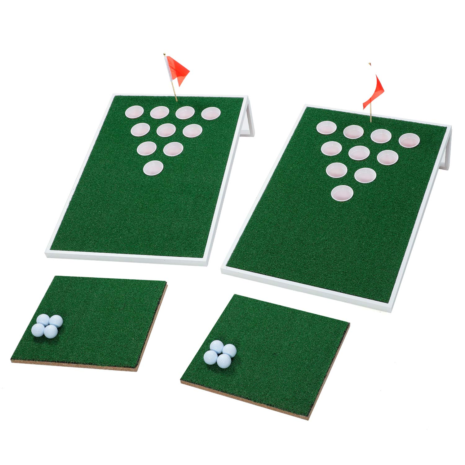 OOFIT Golf Meet Beer Pong Chipping Target Game Set with Chipping Mats, White