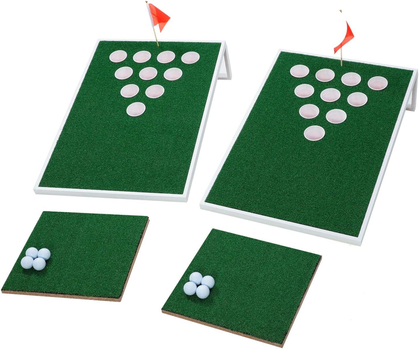 OOFIT ゴルフ チップターゲット セット ビール ポン チップマット付き 白い Finished