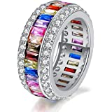 Mothers Day Gifts for Women Rainbow Multi Color Ring Emerald-Cut Cubic Zirconia Multi Color Ring Band Birthday Gift with Jewe