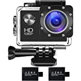 BUIEJDOG Sports Action Camera Full HD 1080P 16MP WiFi Waterproof Cam 98ft Underwater Camcorder with 170°Wide Angle Lens 2 Rechargeable Batteries and Mounting Accessories Kits