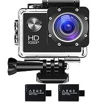 Cámara de acción 1080P 16MP Sports Cam - BUIEJDOG HD WiFi Videocámara a prueba de agua con lente de ángulo amplio 170 ° 2 Baterías recargables y kits de accesorios de montaje