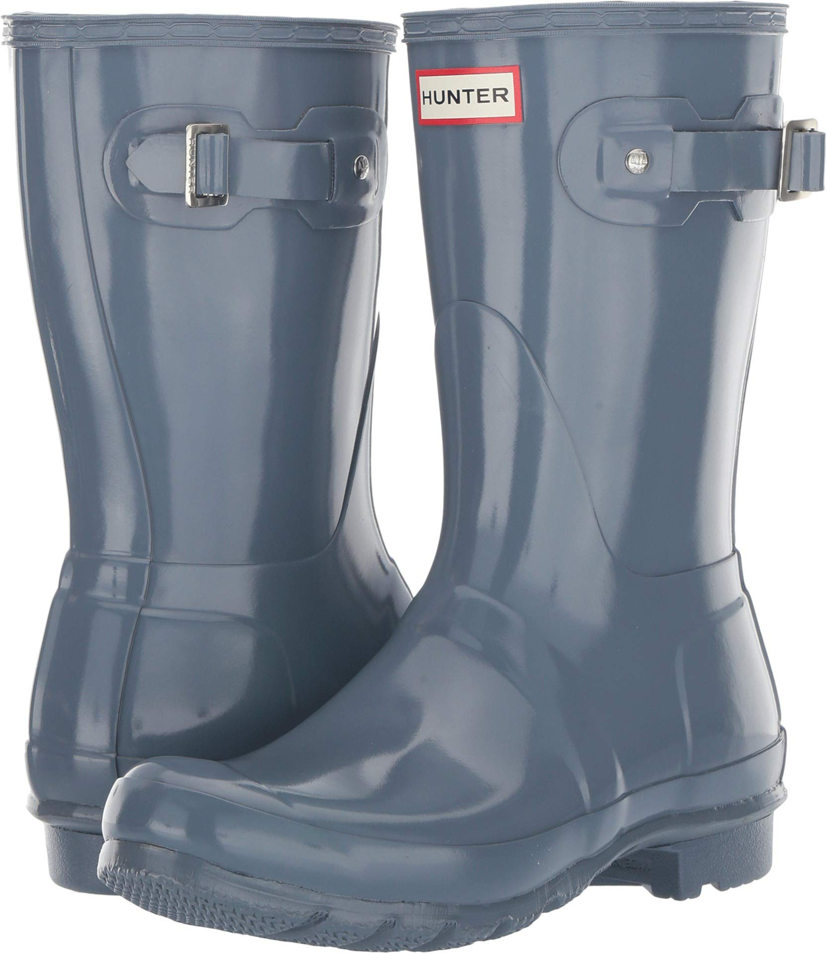 Hunter Women's Original Short Gloss Rain Boots Gull Grey 9 M US