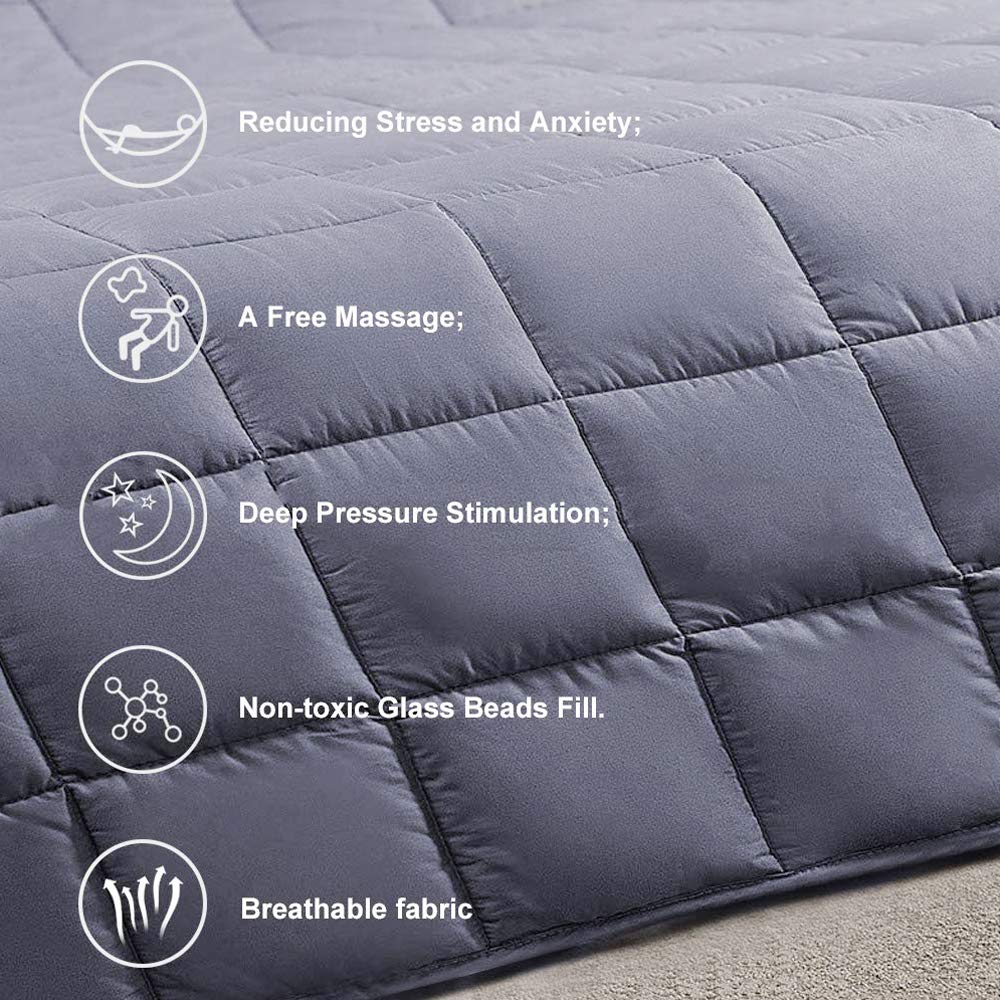 COCOBELA Weighted Blanket for Adult and Kids, 15 lbs 60''x 80'', Breathable Cotton and Premium Glass Beads (Dark Grey) by COCOBELA (Image #4)