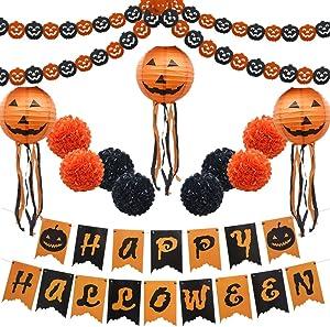 "Halloween Party Decoration Kit, Orange Black Pumpkin Paper Garland Lantern Lamp Tissue Paper Pom Poms Flowers ""Happy Halloween"" Banner for Halloween Party Birthday Event Decorations"