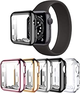 5 Pack Screen Protector Case Compatible with Apple Watch Series 3 42mm, Haojavo Soft Plated TPU Full Protective iWatch Case Cover for Apple Watch Series 3/2/1 42mm Accessories