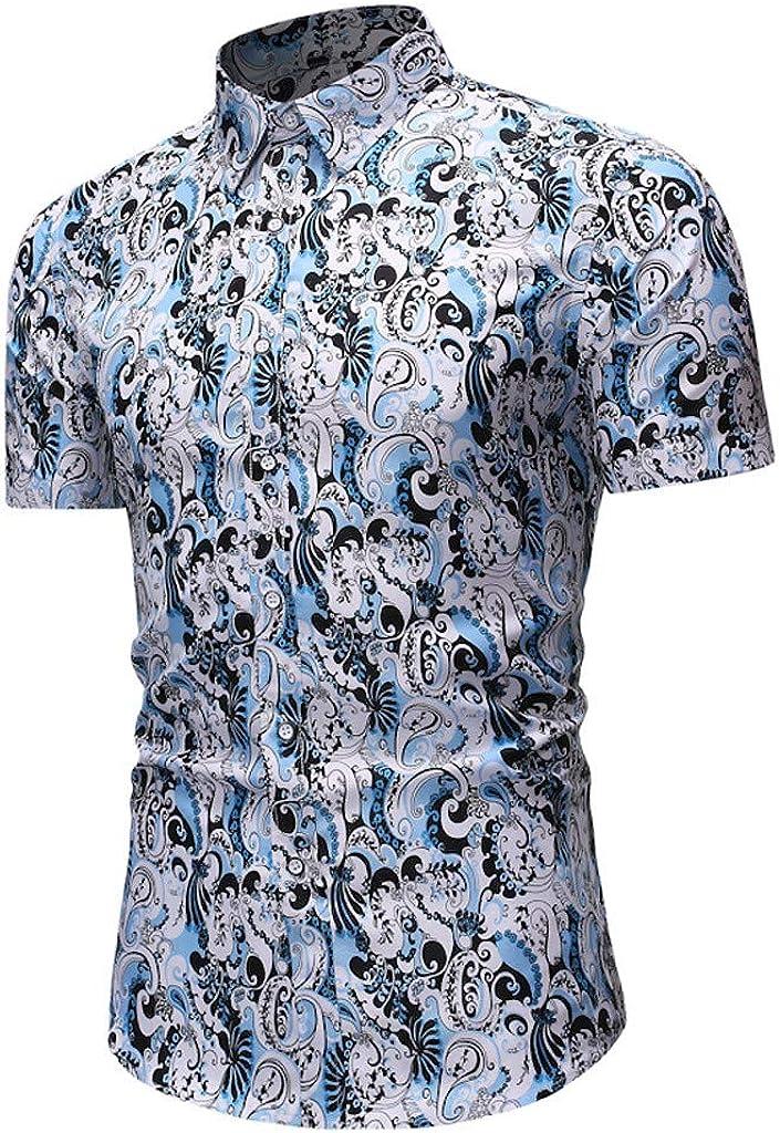 QHF Mens Hawaiian Printed Shirt Mens Summer Beach Shirt Short Sleeve Casual YS24-black,XL