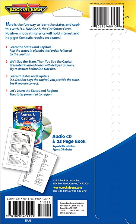 ROCK N LEARN Social Studies Audio CD & Book Set - States & Capitals Rap and  Presidents & US Government