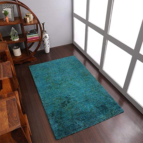 Rugsotic Carpets Hand Knotted Gabbeh Silk 8'x10' Area Rug Solid Light Blue LS0111