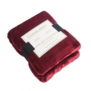Caitlin White Throw Blanket for Couch/Sofa/Bed,Luxury Super Soft Microplush Velvet,50 x60 ,Burgundy